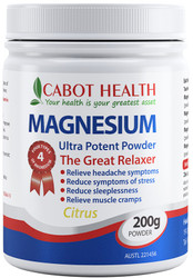 Cabot Health Magnesium Ultra Potent Citrus is a super strength formula containing 4 magnesium complexes for greater absorption and utilisation