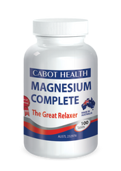 Cabot Health Magnesium Complete - a combination of four magnesium compounds to supplement inadequate dietary intake of this important mineral. Magnesium Complete can be used to relieve muscular cramps and spasms, and nervous tension, stress