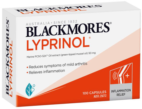 Blackmores Lyprinol reduces joint inflammation and joint swelling, improves the quality of life for Arthritis sufferers and decreases joint pain from Osteoarthritis,Anti-inflammatory with Green Lipped Mussel