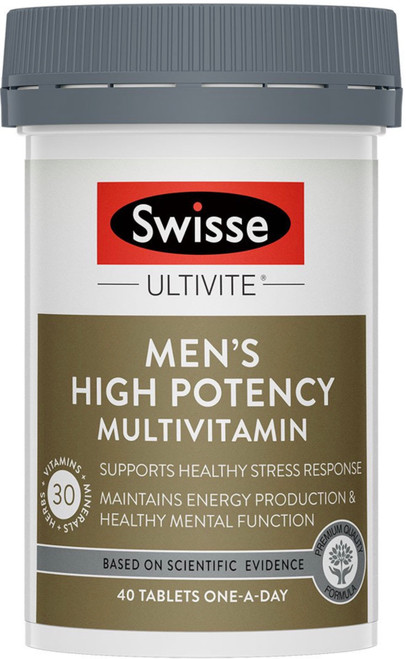 Swisse Ultivite Men's High Potency Multivitamin fills nutritional gaps, supports energy production and mental performance