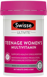 Swisse Women's Teenage Ultivite is a Multivitamin for female teenagers to support healthy brain function and healthy looking skin