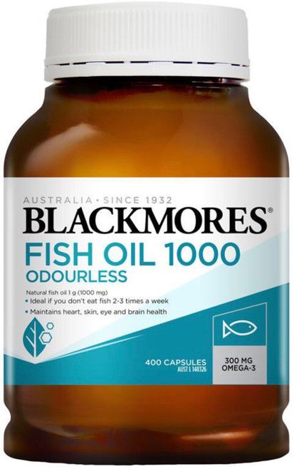Blackmores Odourless Fish Oil 1000mg is a source of omega-3 fatty acids, with no fishy aftertaste to reduce inflammation and joint swelling of arthritis and for a healthy heart and cardiovascular system