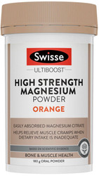 Swisse UltiBoost Magnesium Powder High Strength Orange helps reduce muscle cramps and spasms, supports a healthy nervous system and assists healthy immune function