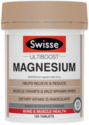 Swisse UltiBoost Magnesium helps relieve muscle cramps, nervous tension and stress