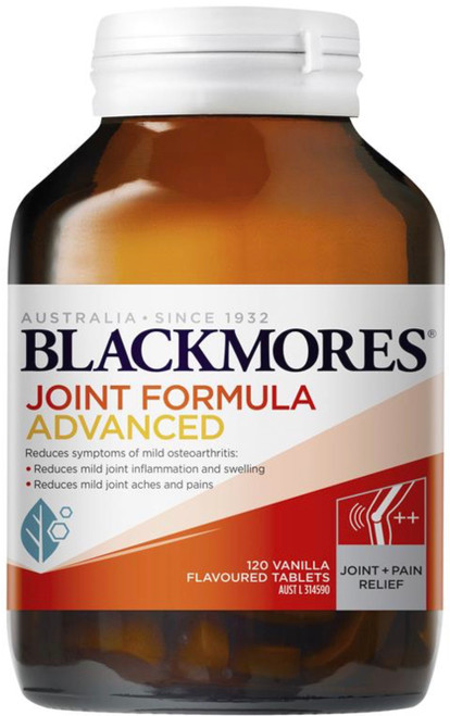 Blackmores Joint Formula Advanced combines Glucosamine and a high-strength dose of Chondroitin to help reduce cartilage wear and improve joint mobility and relieve joint pain associated with arthritis, in an easy-to-swallow, vanilla flavoured tablet