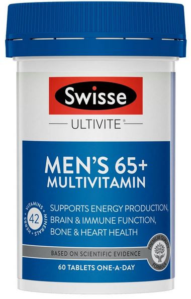 Swisse Ultivite Men's 65+ S Formula Multivitamin contains premium ingredients to help support the nutritional needs of people over the age of 65