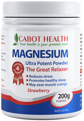 Cabot Health Magnesium Ultra Potent Strawberry is a super strength formula containing 4 magnesium complexes for greater absorption and utilisation
