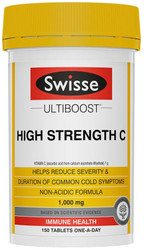 Swisse UltiBoost Vitamin C High Strength 1000mg reduces the severity and duration of colds and support the body‰'s normal resistance to cold and flu