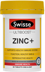 Swisse UltiBoost Zinc Plus helps maintain a healthy immune system, general wellbeing and male reproductive health