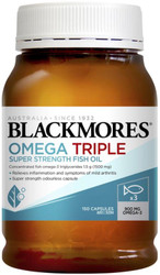 Blackmores Omega Triple Super Strength Fish Oil has 3x the Omega-3s of a standard fish oil cap, which helps take less capsules to reduce joint swelling & inflammation in rheumatoid arthritis
