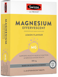 Swisse Ultiboost Effervescent Magnesium 300mg relieves muscle cramps and spasms, nervous tension, mild anxiety and sleeplessness