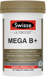 Swisse Mega B Plus supports the body during times of stress, assists energy release and maintains general wellbeing