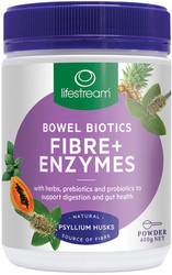 Lifestream Bowel Biotics Fibre Plus Digestive Enzymes is a natural digestive formula, containing fibre, prebiotics, probiotics and natural digestive enzymes