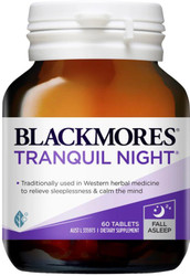 Blackmores Tranquil Night relieves  insomnia and disturbed sleep patterns, and contains a combination of sedative herbs and synergistic vitamins