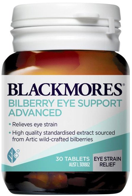 Blackmores Bilberry Eye Support Advanced contains anthocyanosides, a group of reddish-purple pigments found to significantly improve night vision and aid the function of the retina