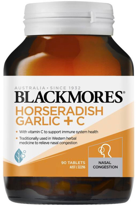 Blackmores Super Strength Horseradish, Garlic + Vitamin C  for nasal and mucous congestion, sinusitis, common colds, hayfever, influenza - supports immune system