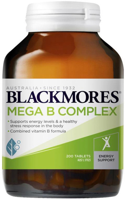 Blackmores Mega B Complex contains B group vitamins essential to assist with the metabolism of food into energy and for the healthy functioning of the nervous system