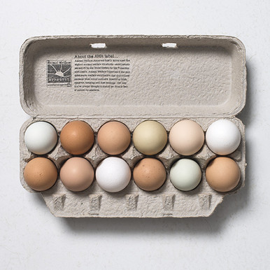 Farm Fresh Eggs, laid by pasture raised hens.