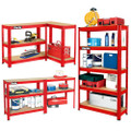 CLARKE SHELVING BOLTLESS 150Kg 5 SHELF RED 800x300x1500