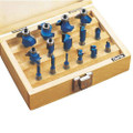 "CLARKE 15 PIECE WOODWORK ROUTER BIT SET 1/4"" SHANK"