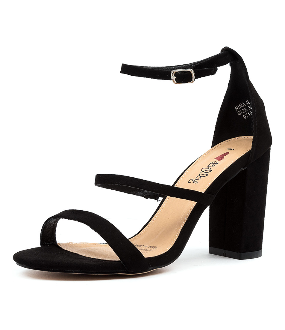 NINA BLACK MICROSUEDE SANDALS I Love Billy