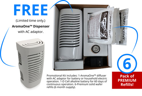 Promotional Kit includes: 1-AromaOne™ diffuser with AC adaptor for battery or household electric operation. 1-D Cell alkaline battery for 60 days of continuous operation. 6-Premium solid wafer refills (6 month supply).