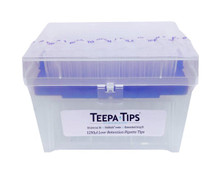 TT-1250NF - Teepa Tips 1250uL pipette tip non-filtered. RNase/DNase free pipette tip. With color coded blue platform for easy identification