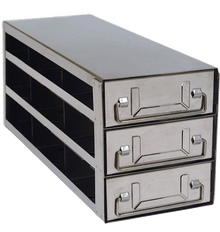 Stainless Steel Lab Freezer Drawer Rack for 2 inch Cryo Boxes UFD-332