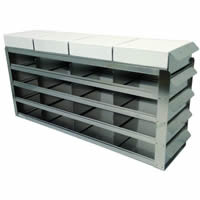 Stainless Steel Laboratory Freezer Rack with Sliding Trays for Two Inch Freezer Boxes - UFS-342. Image for illustrative purpose only