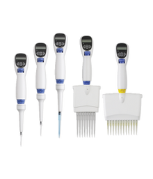 Labnet Excel Electronic Single Channel Programmable Pipette and Repeater. Shown here is the full family of single and multichannel pipettes