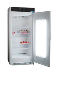 Shel Lab SRI21D Day/Night Plant Growth Incubator with internal door mounted lights and control. Shown with door open and lights illuminated.