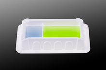 50mL Polystyrene reagent reservoirs with two compartments designed to reduce and recycle expensive PCR assay and other assay reagents