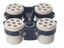 Hermle Z366-250 Low-Speed Swing-Out Centrifuge Rotor without buckets or inserts. Image is for illustration purposes only. Each location can hold up to a 250mL tube with the correct bucket and insert.