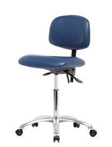 Vinyl ESD & Clean Room Chair Chrome - Medium Bench Height 22-29""