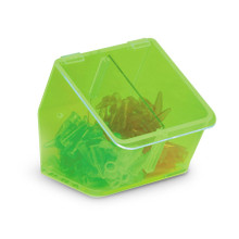 Benchtop storage bin with dual compartment, GREEN, 1/EA