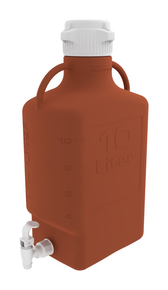 10L (2.5 Gal) Amber HDPE Carboy with 83mm Cap and Spigot