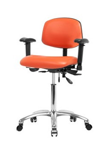 Vinyl laboratory chair - chrome -  bench height 22-29""