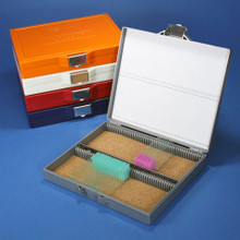 Microscope slide storage box, cork lined, holds 100 slides, stanless-steel lock - Each