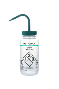 Wash Bottle with Safety Labels, Self-venting,  Methanol, Green Cap, 6/PK