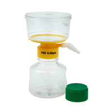CellTreat 229706 250ml vacuum filter system with sterile wrapped cap enclosed in the packaging.