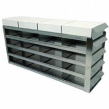 UFS-552 sliding freezer rack for two inch freezer boxes. This rack holds twenty five boxes in a 5 x 5 configuration. Picture is illustrative.