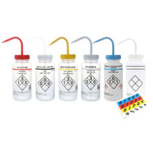 Wash Bottle with Safety Labels, Self-venting, Mixed Pack, 6/PK