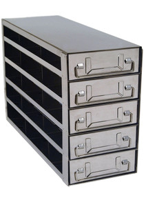 Stainless Steel Lab Freezer Drawer Rack for 2 inch Cryo Boxes UFD-352