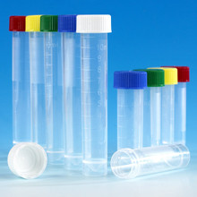 10mL skirted based polypropylene transport tube with leak proof blue screw cap 6102B. Tubes have graduation lines for measuring volume and a conical center - Lab Supplies - Stellar Scientific