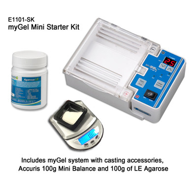 Accuris E1101-SK MyGel Mini All In One DNA Gel Electrophoresis Starter Kit comes bundled with a mini balance and agarose.