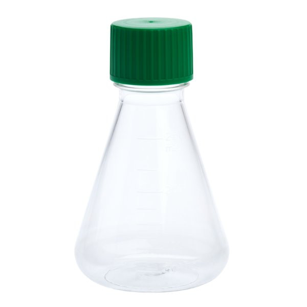 CellTreat 250mL Erlenmeyer Flask, Solid Cap, Plain Bottom, PETG, Sterile,  12/CS
