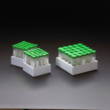 CellTreat 15 and 50mL conical centrifuge tubes with green caps in recyclable paperboard racks