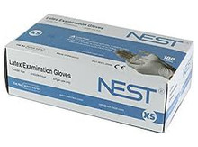 NEST powder free white latex gloves 90506-XS-W Extra Small, 10 Boxes of 100 gloves
