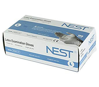 NEST powder free white latex gloves 90506-L-W Large, 10 Boxes of 100 gloves