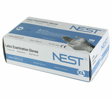 NEST powder free white latex gloves 90506-XL-W Extra Large, 10 Boxes of 100 gloves